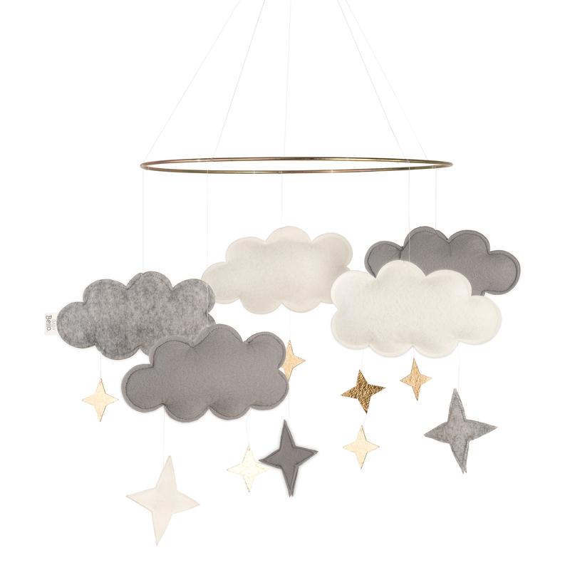 Mobile 'Wolken' Filz grau/gold