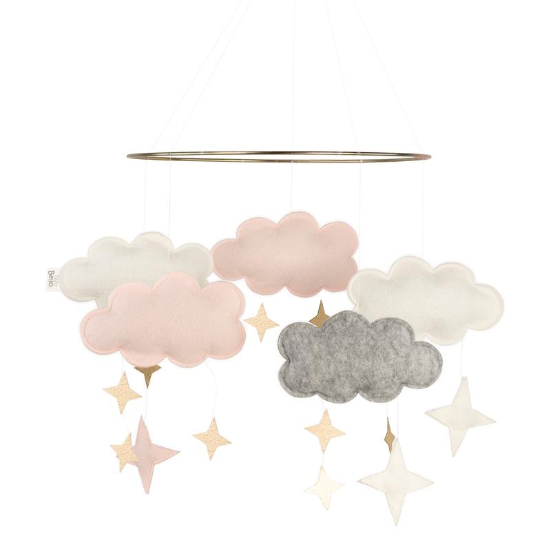 Mobile 'Wolken' Filz puderrosa/gold