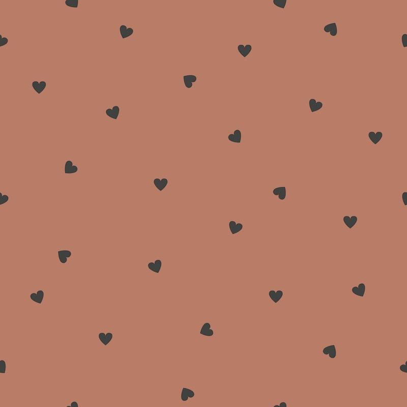 Vliestapete 'Herzen' rost/schwarz
