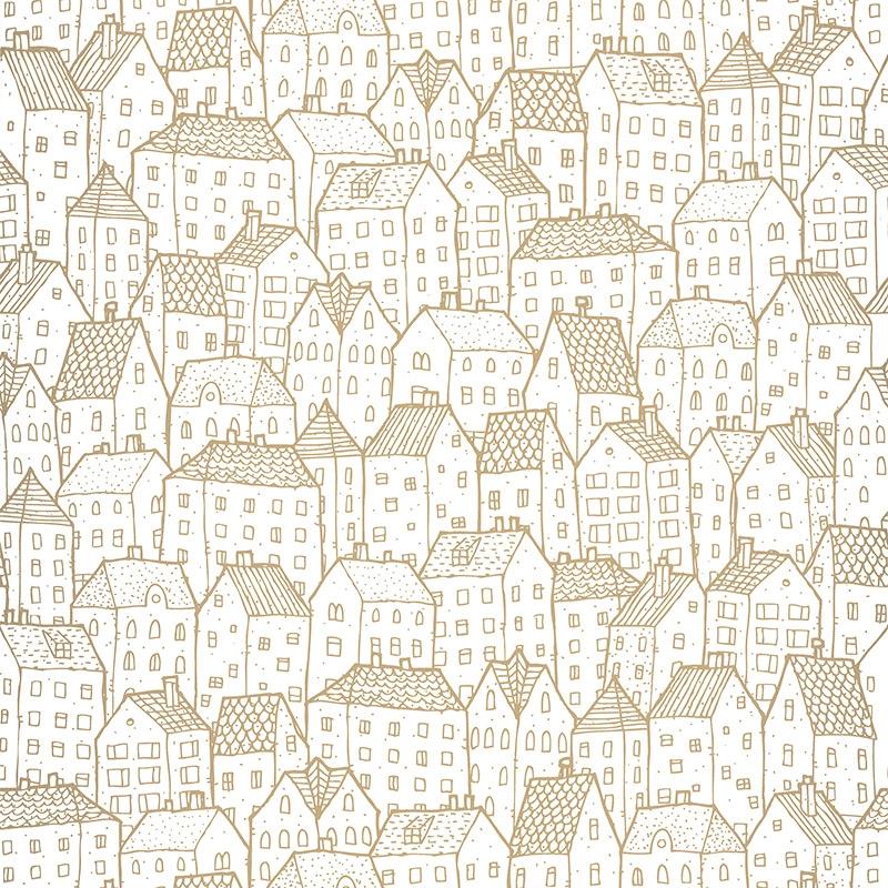 Tapete Häuser gold glänzend 'Pretty Lili'