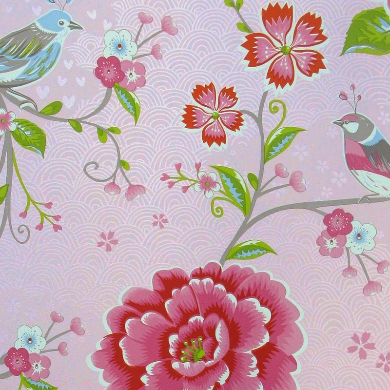 Vliestapete 'Birds in Paradise' puderrosa
