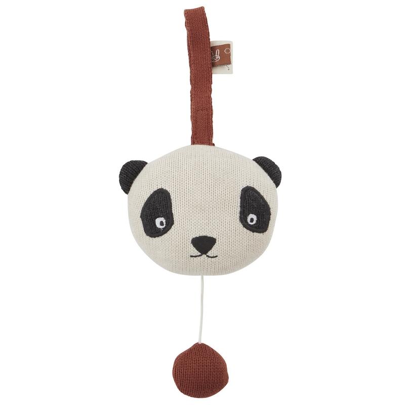 Spieluhr 'Panda' Strick rostrot ca. 13cm