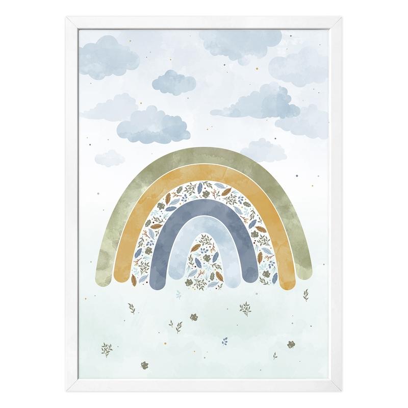 Poster 'Regenbogen' blau/khaki 50x70cm