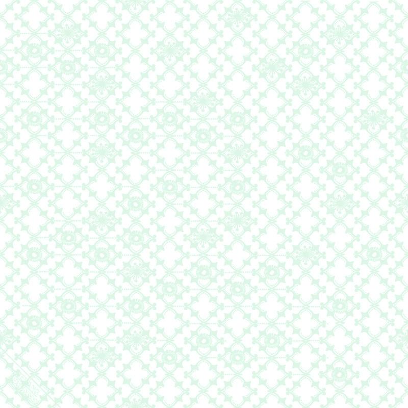 Vliestapete 'Ornamente' weiß/mint