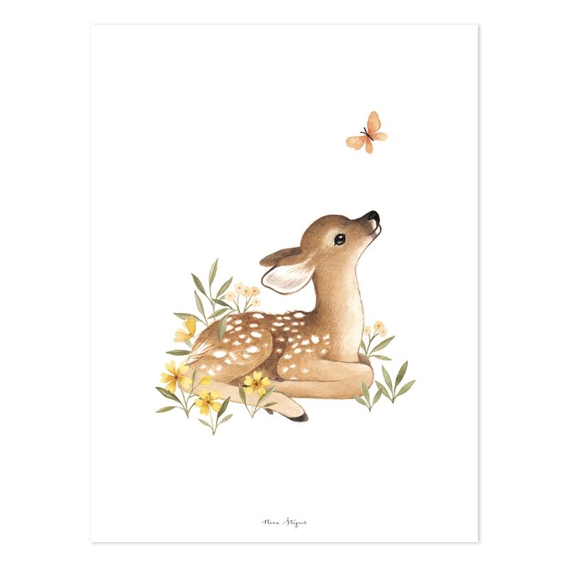 Poster 'Oh Deer' Reh beige 30x40cm