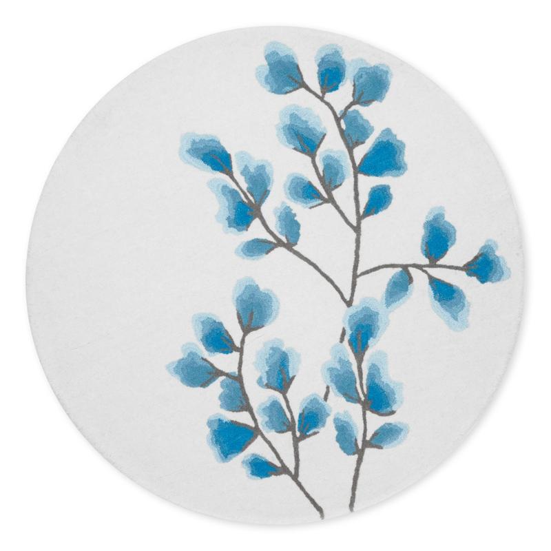 Wollteppich 'Fiori' rund blau ca. 110cm
