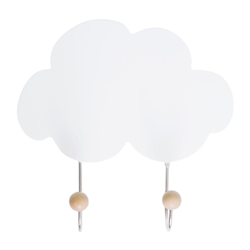 Kleiderhaken 'Wolke' Holz weiß/natur