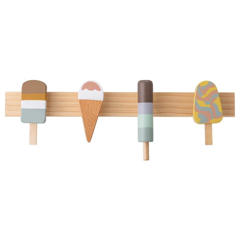 Garderobe 'Eis' aus Naturholz 38x13cm