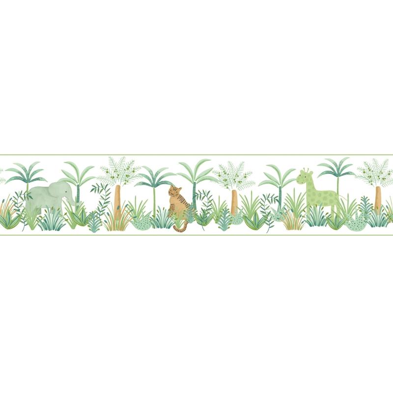 Bordüre 'Rose & Nino' Dschungel' grün/camel