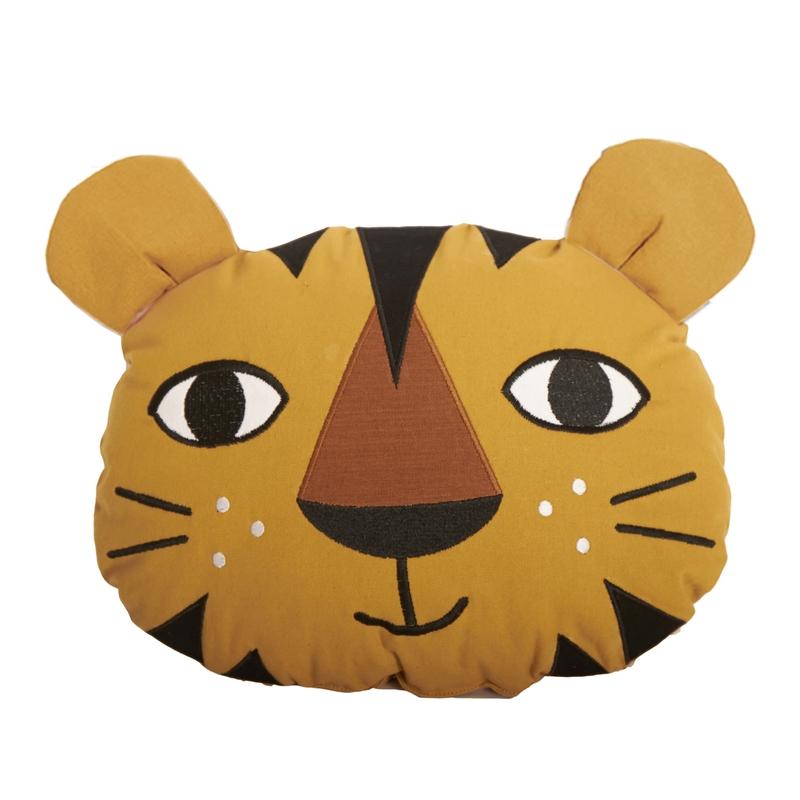 Spielkissen 'Tiger' bestickt senfgelb ca. 40cm