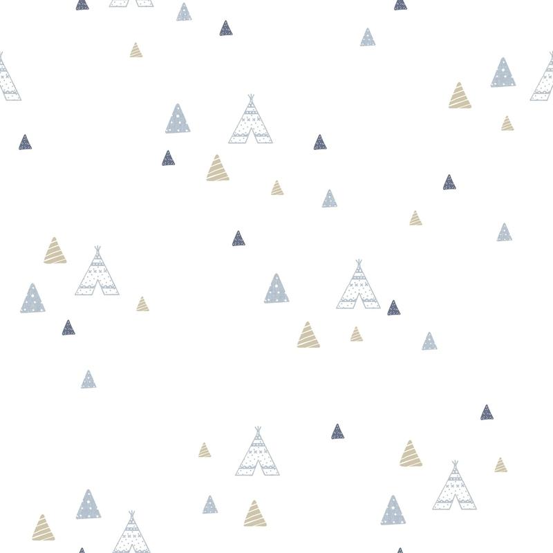 Vliestapete 'Tipi' hellblau/beige