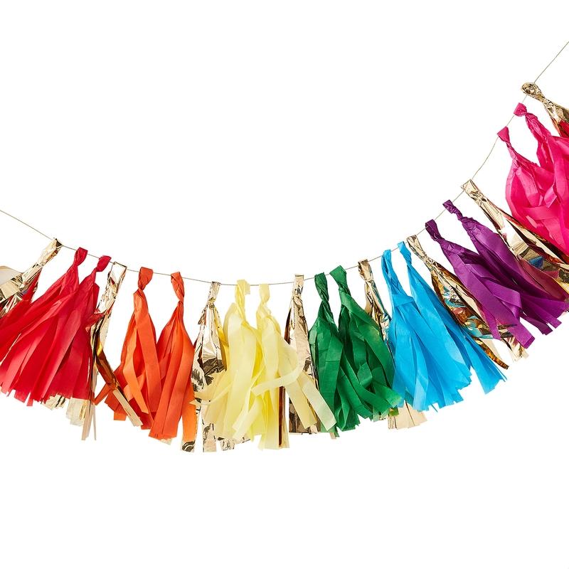 DIY-Quastengirlande 'Rainbow' 150cm