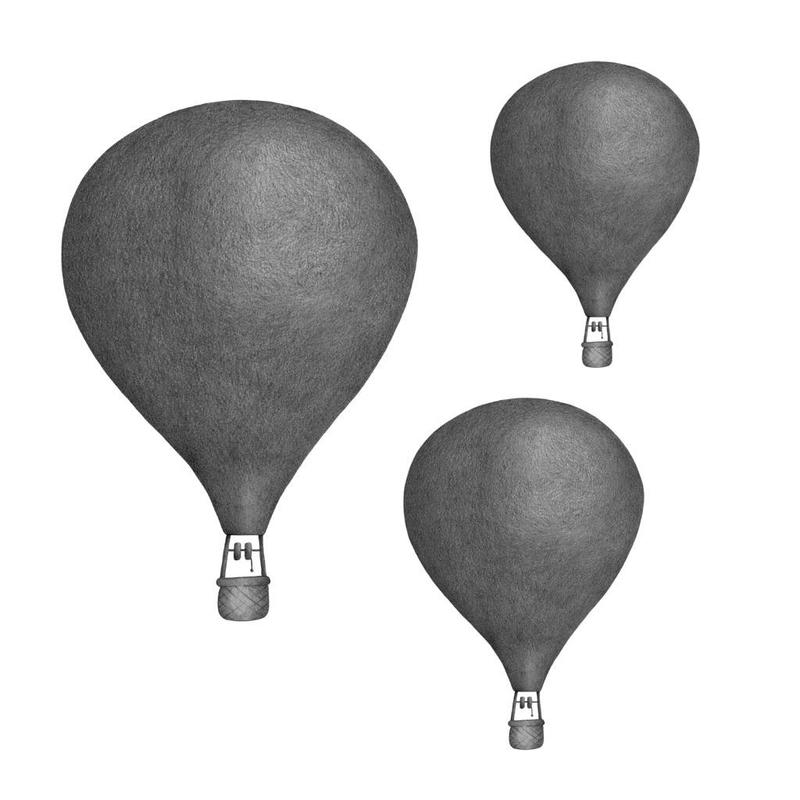 Wandsticker 'Heißluftballons' dunkelgrau 3D Optik