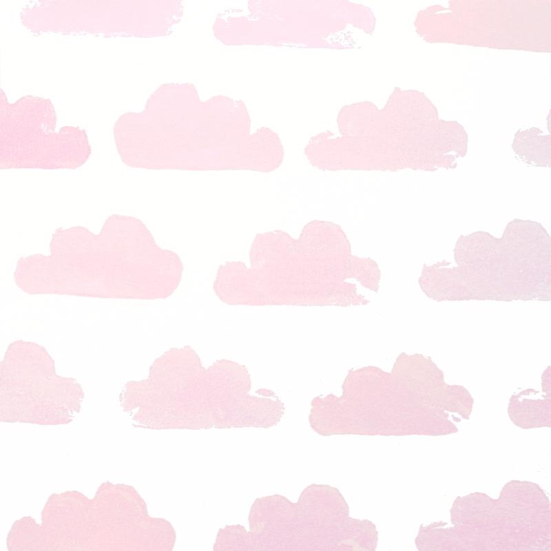 Vliestapete 'Wolken' weiß/rosa