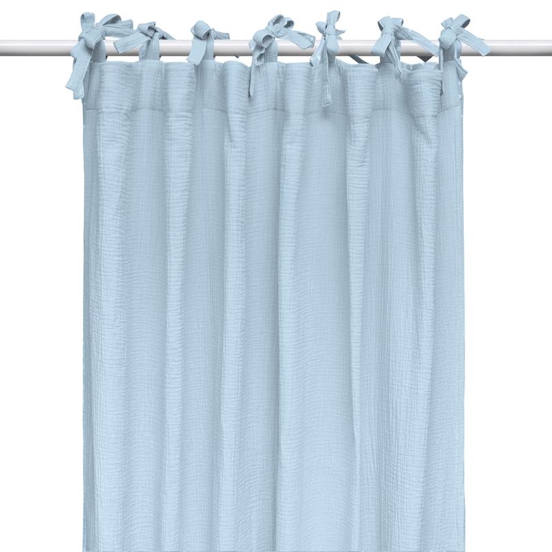 Vorhang Musselin pastellblau H 240cm handmade