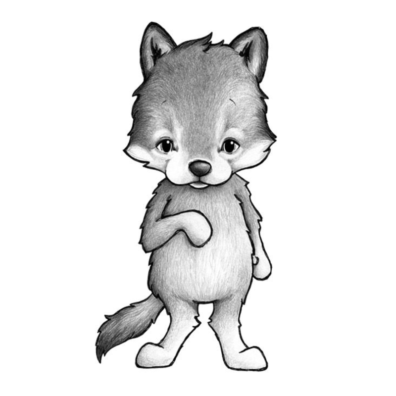 Tier-Wandsticker 'Wolf' handgezeichnet