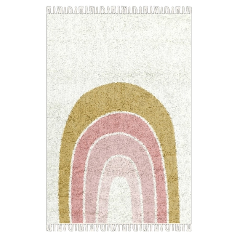 Teppich 'Regenbogen' senf/rosa 90x130cm waschbar