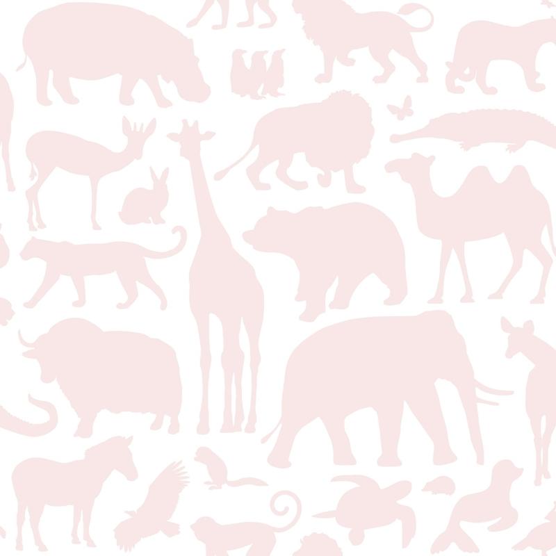 Vliestapete 'Wilde Tiere' weiß/puderrosa