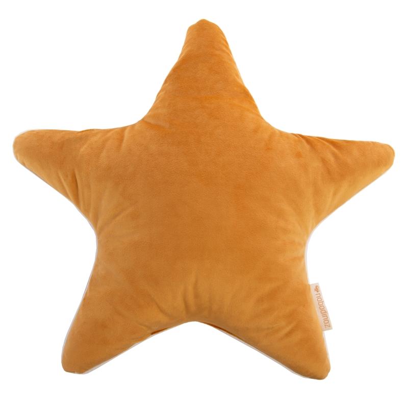 Bio Kissen 'Stern' aus Samt senfgelb ca. 40cm