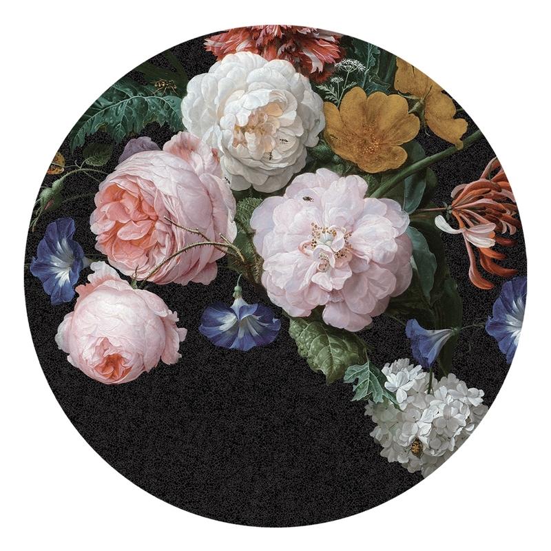 XL-Wandsticker 'Blumen' rund schwarz/rosa