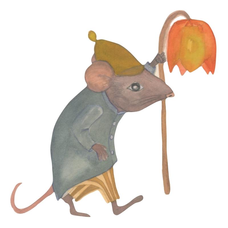 Stoff-Wandsticker Maus 'Nachtwächter'