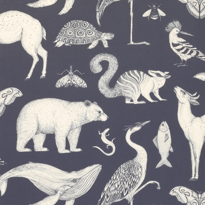 Tapete 'Wilde Tiere' dunkelblau/weiß