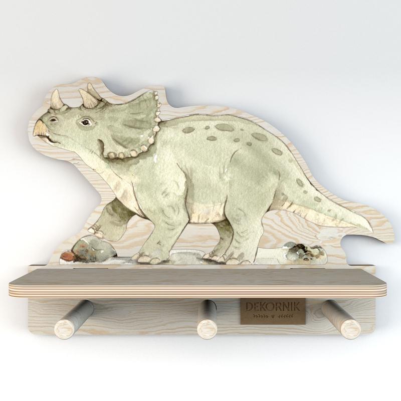 Wandregal & Garderobe 'Dino' grün 32cm