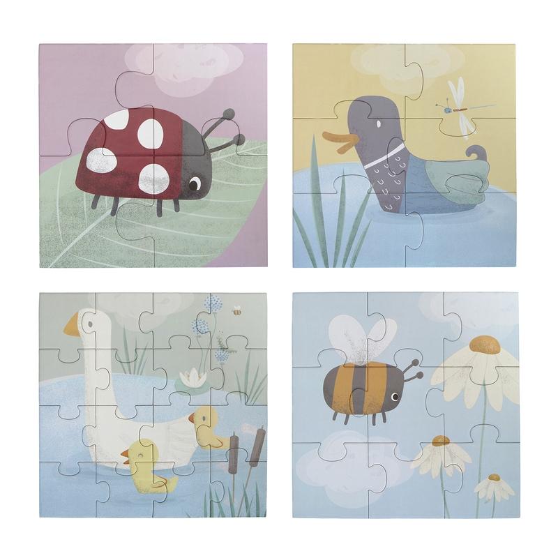 Tierpuzzle 4er Set Gans, Ente, Biene, Käfer ab 3 Jahren