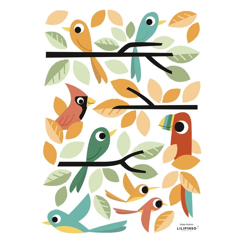 Wandsticker 'Versteckt' Vögel & Blätter
