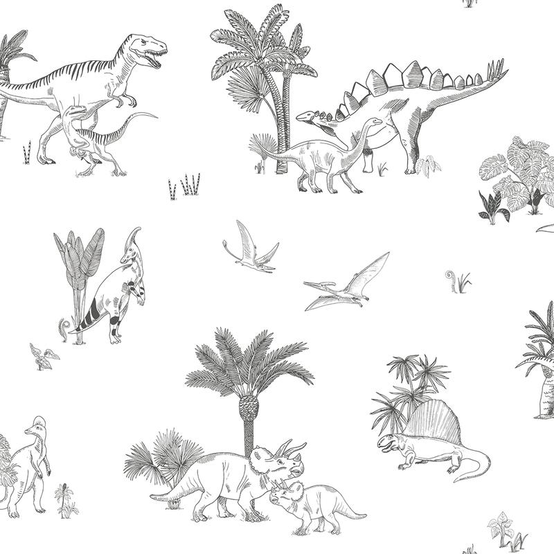 Vliestapete 'Dinosaurier' schwarz/weiß