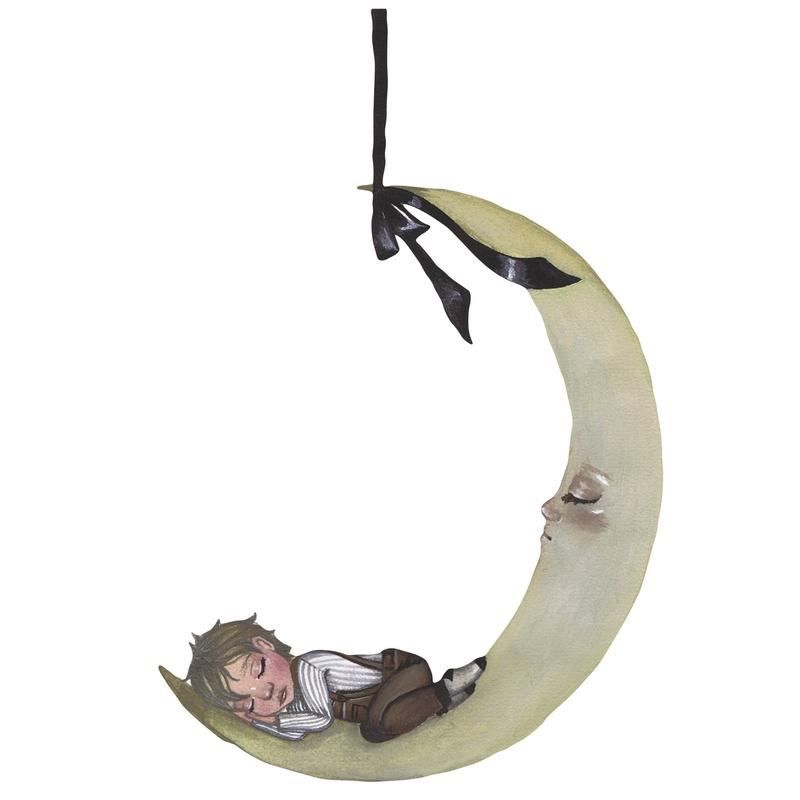 Stoff-Wandsticker 'Mond mit Junge' 43cm