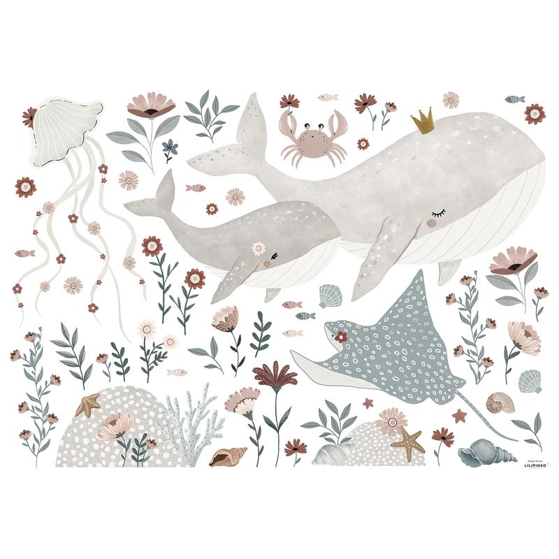 Wandsticker Wale 'Ocean Field' altrosa/jade