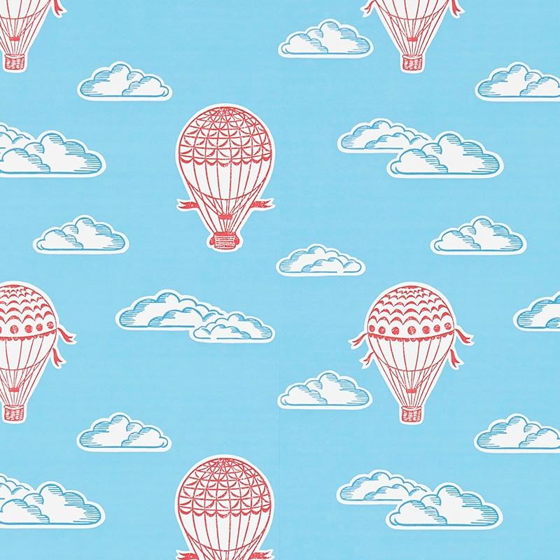 Tapete 'Heißluftballons' blau/rot