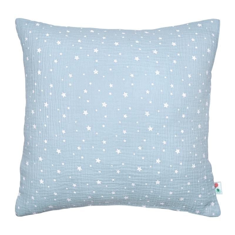 Kissenbezug 'Sterne' Musselin pastellblau