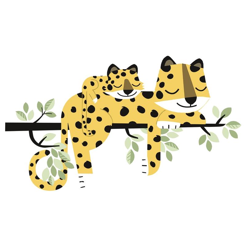 Wandsticker 'Versteckt' Leoparden senfgelb