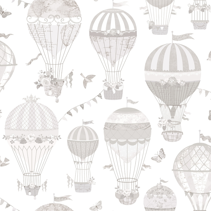 Vliestapete 'Heißluftballons' weiß/hellgrau