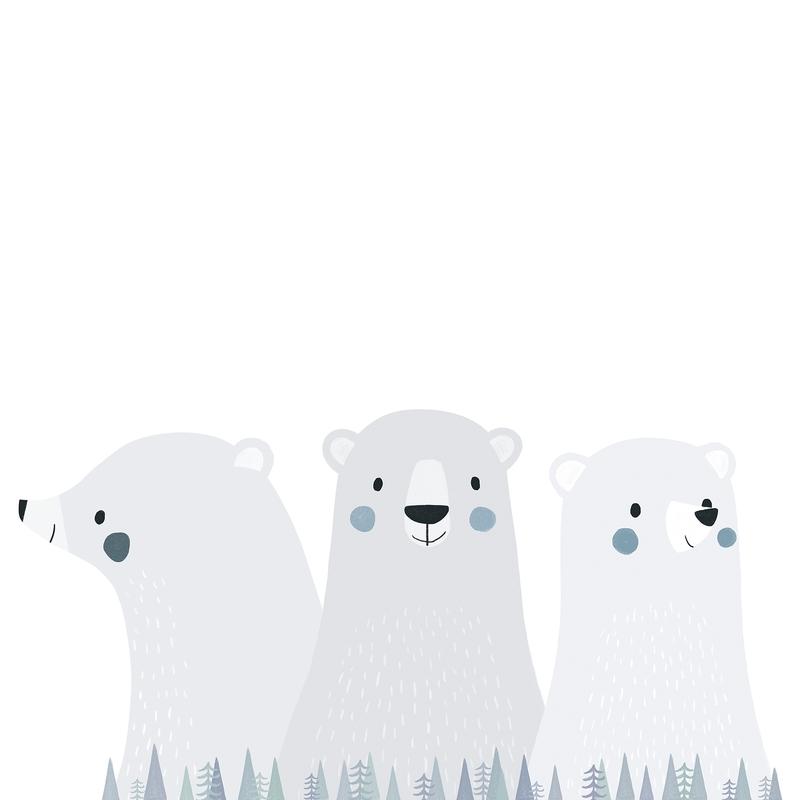 XL-Wandsticker 'Arctic' Eisbären-Trio grau