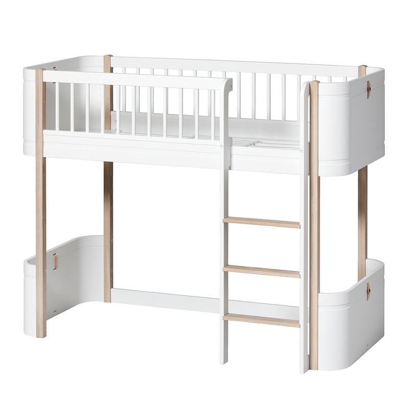 Halbhochbett 'Mini+' Eiche/weiß 68x162cm