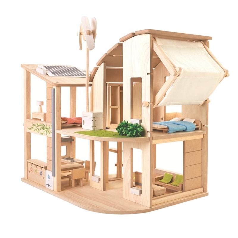 Öko-Puppenhaus aus Naturholz ab 3 Jahren
