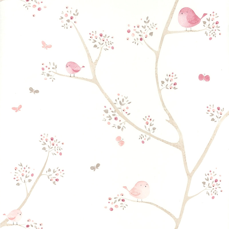 Tapete 'My Little World' Vögelchen rosa/beige