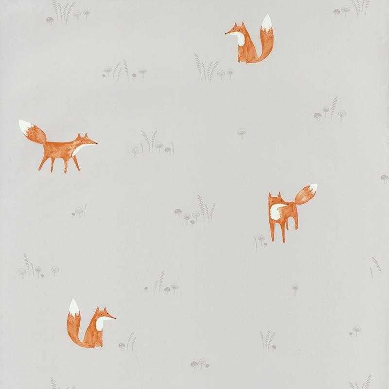 Tapete 'My Little World' Fuchs grau/rost