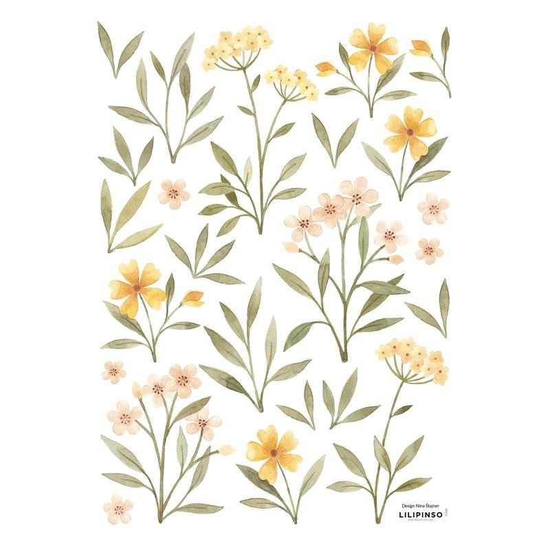 Wandsticker 'Oh Deer' Blumen grün/gelb