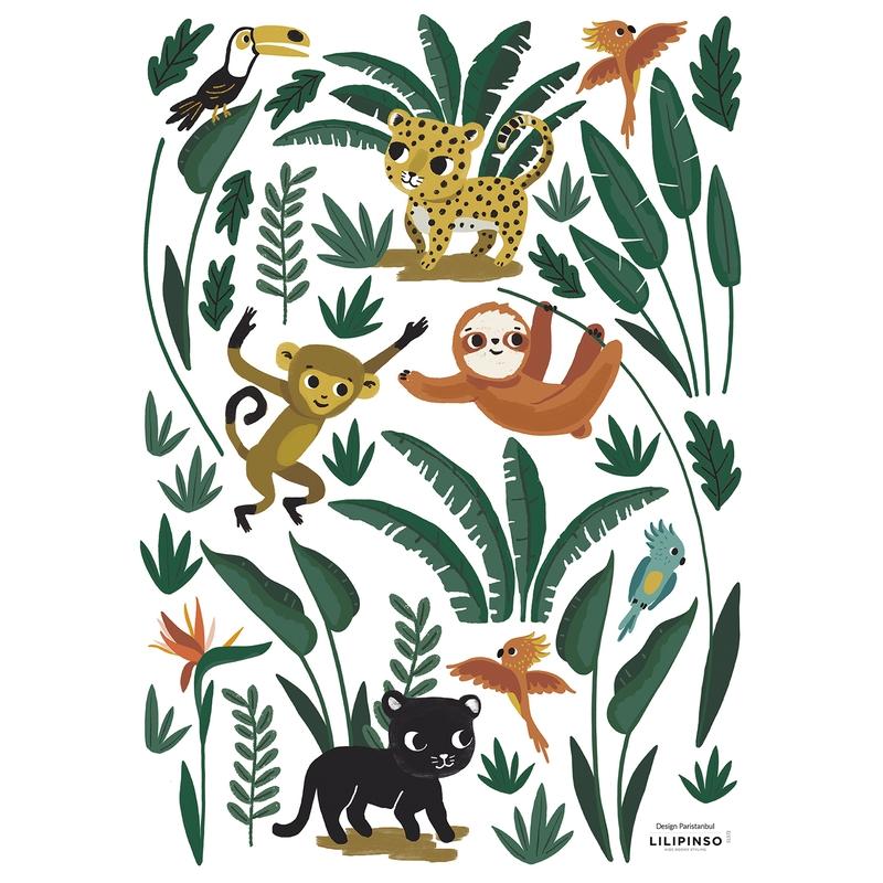 Wandsticker 'Jungle' Tiere & Blätter grün