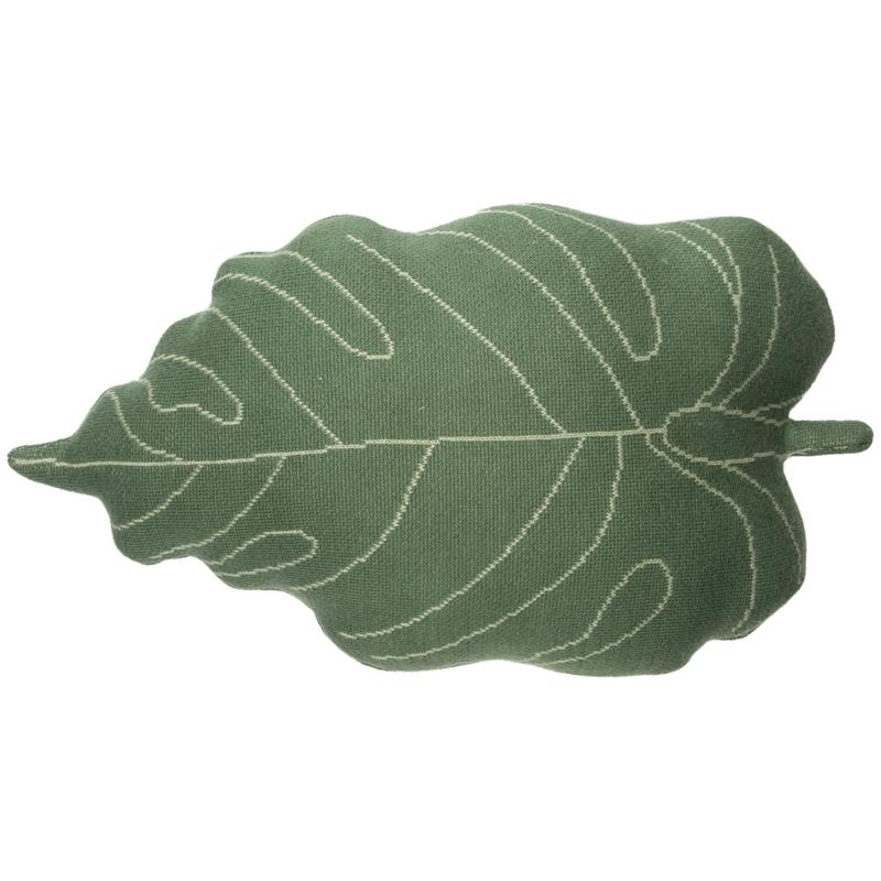 Kissen aus Baumwollstrick 'Blatt' grün ca. 42cm
