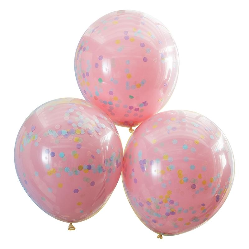 Konfetti-Luftballons rosa/pastell 3 St. 45cm