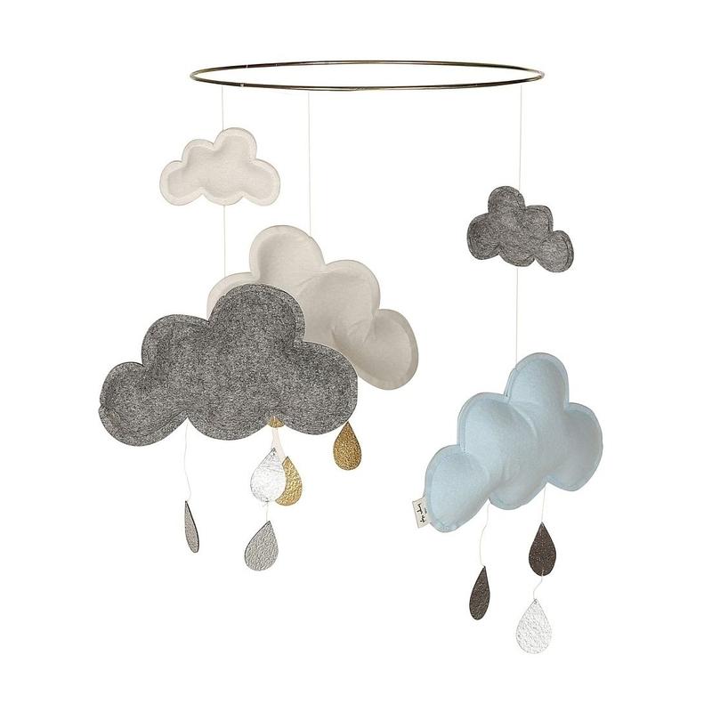 Mobile 'Wolken & Regentropfen' grau/hellblau