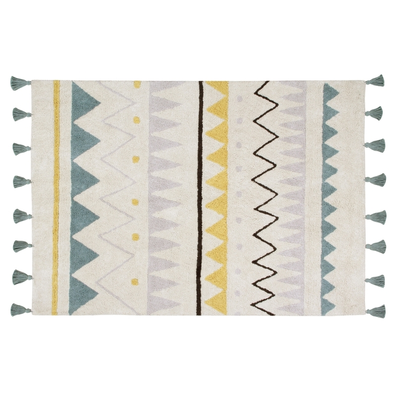 Teppich 'Azteca' creme/blau waschbar