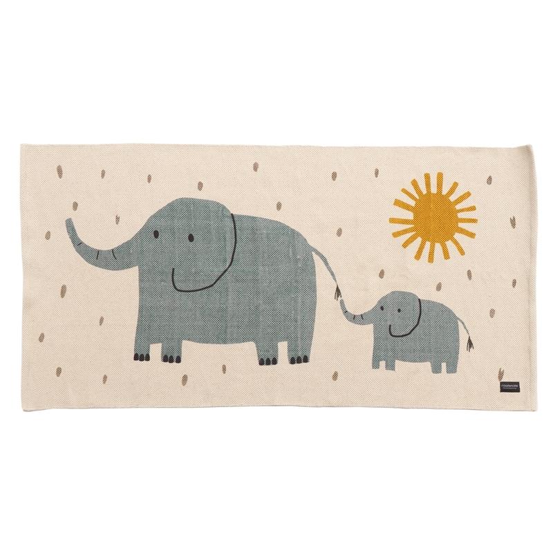 Teppich 'Elefanten' beige/jade 70x140cm