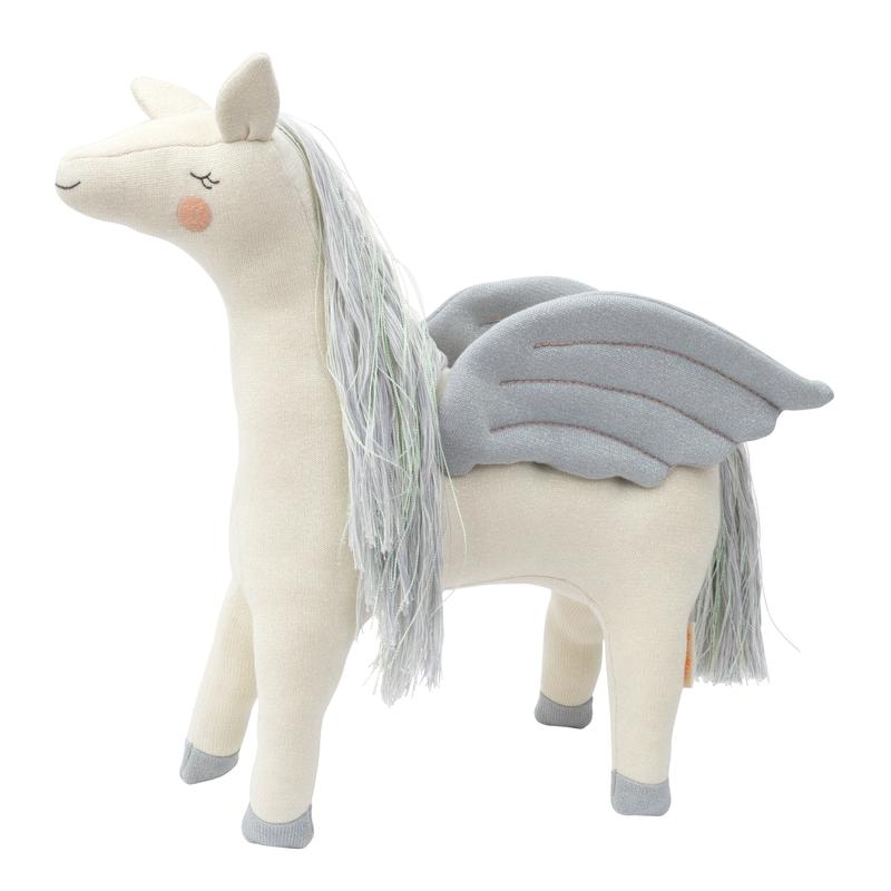 Kuscheltier 'Pegasus' Strick creme/grau 48cm
