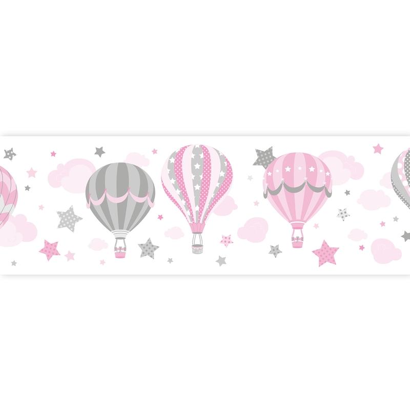 Bordüre Heißluftballons rosa selbstklebend